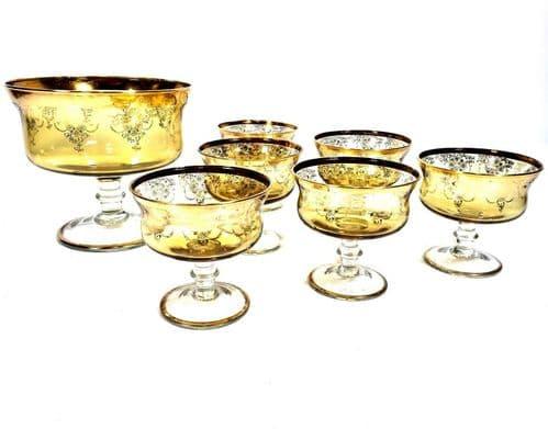 Vintage Amber / Yellow Glass Fruit Salad Dessert Bowl Serving set for 6 People